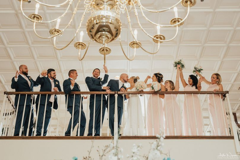 Spring Mill Manor Grand staircase balcony. Photo by Allie Wynands Photography
