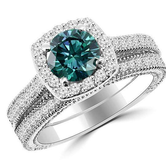 blue diamond halo ring set