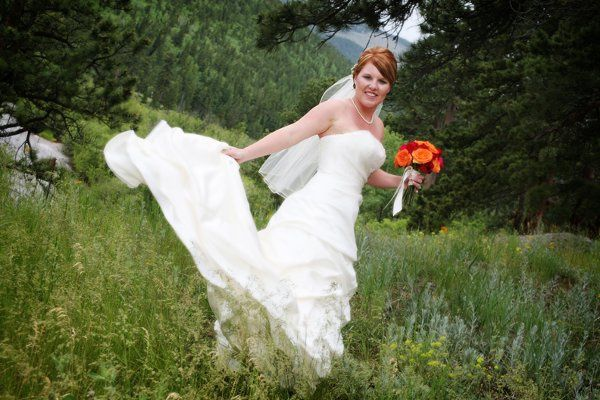 Twirling bride in Estes Park