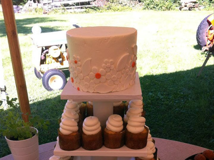 Tmx 1525296556 489e844701ee7b18 1525296555 669ab977bc49e63f 1525296573436 15 2.5 Cupcakes And  Rochester wedding cake