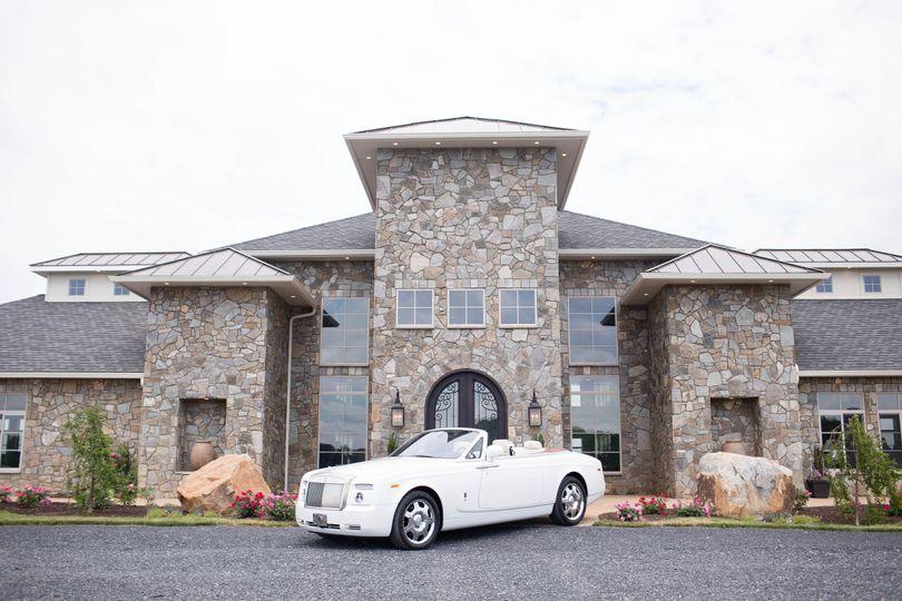 The couple's wedding car