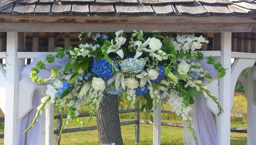 blue and white gazebo spray