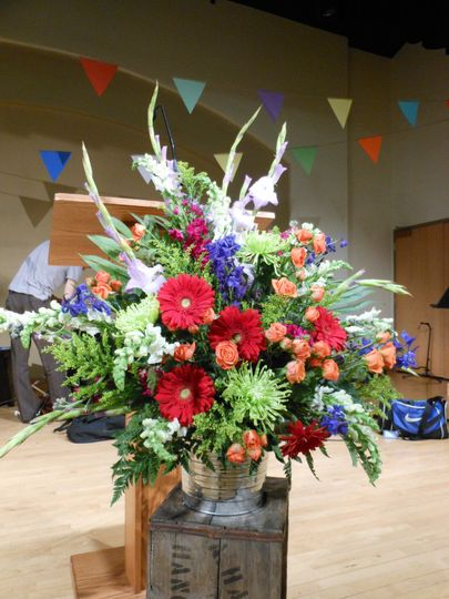 colorful standing arrangement