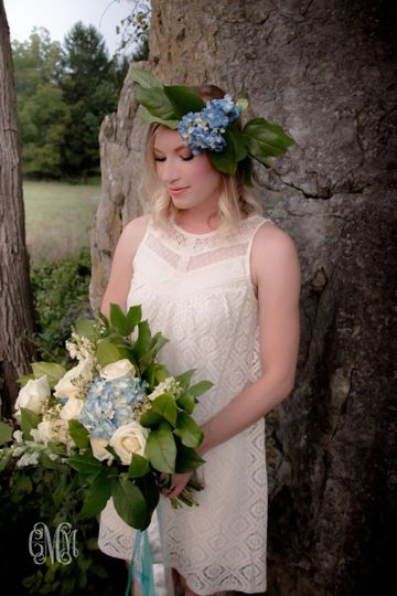 bohemian bridal bouquet and hair wreath photo by