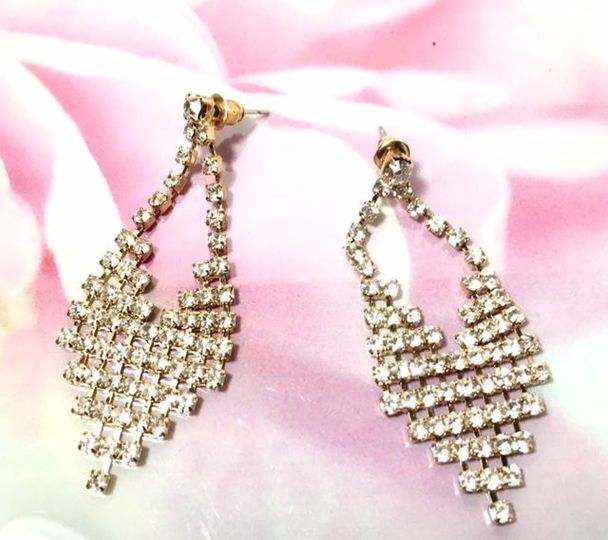 Gold Rhinestone  Earrings $10.00
