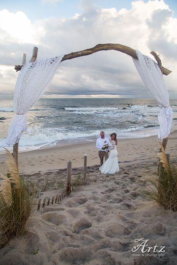 Couple walking along the sand