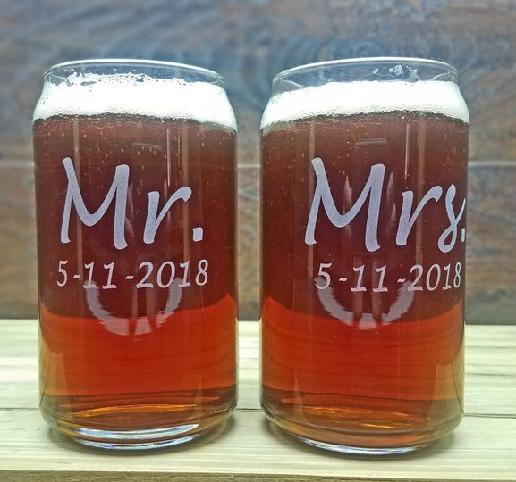 Mr. & Mrs. Beer Can Glasses