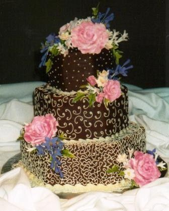 Tmx 1371484367481 Chocolate Buttercream With Ivory Embroidery Hebron wedding cake
