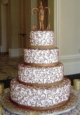 Tmx 1371485748289 Brownscroll3 Hebron wedding cake