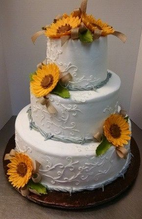 Tmx 1458168879068 Wedding Cake With Sunflowers And Edible Barbwire Hebron wedding cake