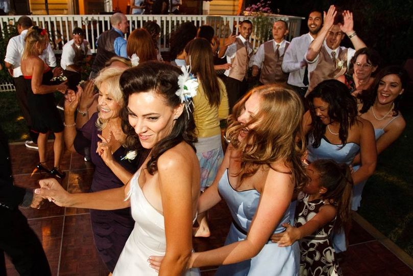 backyard wedding dancing