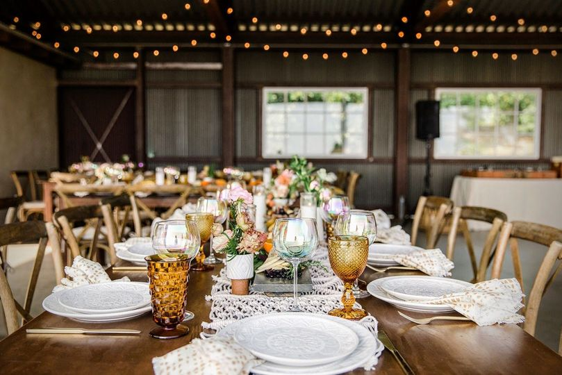 Sample table set-up in barn.