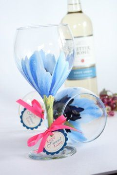 Custom hand painted blue hibiscus wine goblets with a custom gift tag for each table at your...