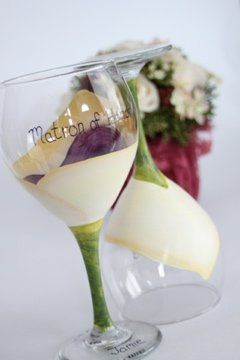 Custom hand painted huge 20oz calla lilly wine goblets that are personalized for each woman in your...
