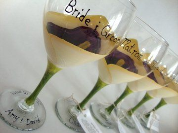 Custom hand painted huge 20oz calla lilly wine goblets for the head table or as bridesmaid gifts....
