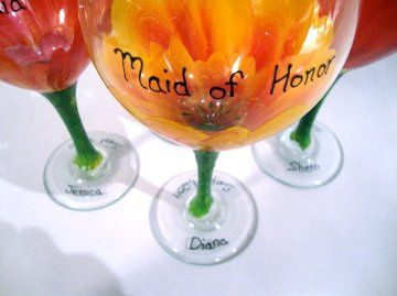 Custom hand painted orange tropical floral bridesmaid 20oz wine goblets.  Personalization is free of...