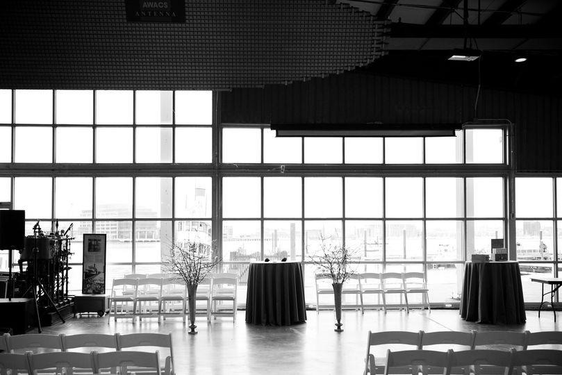 Indoor ceremony w harbor view