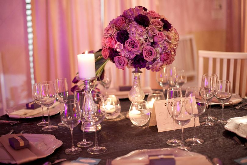 Candlelit table and floral centerpiece