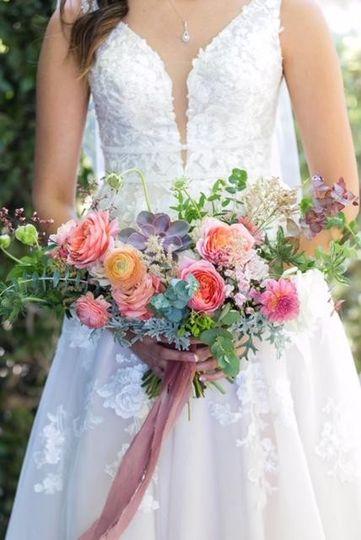 Pink, sage, succulent bouquet