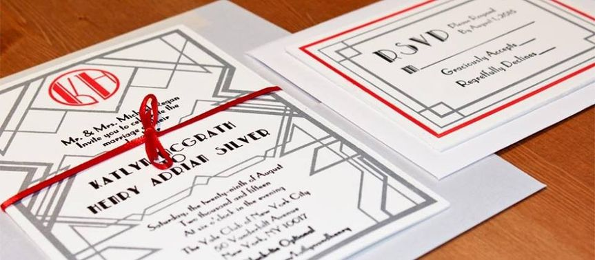 1920's Art Deco Letterpress Invitation set with Black, Red, and Metallic Silver Ink