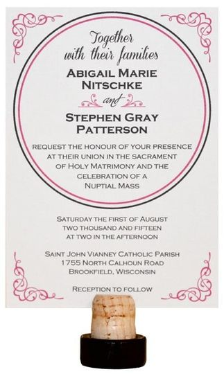 Pink and Gray Wedding Invitation