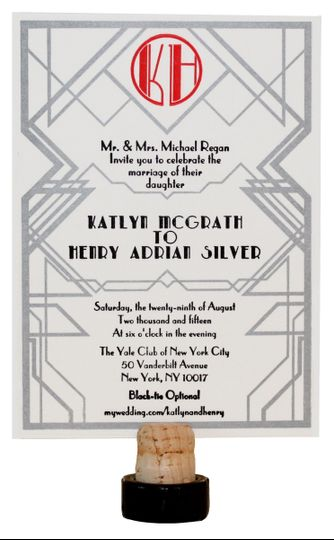1920's Art Deco Letterpress Invitation with Black, Red, and Metallic Silver Ink