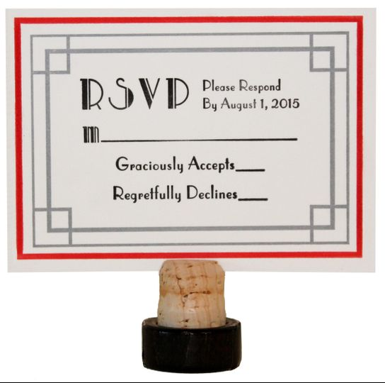 1920's Art Deco Letterpress RSVP card set with Black, Red, and Metallic Silver Ink