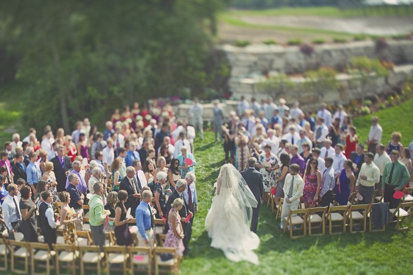 The wedding ceremony in aerial view