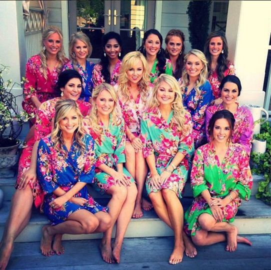 Bride and bridesmaids in their lounge wear