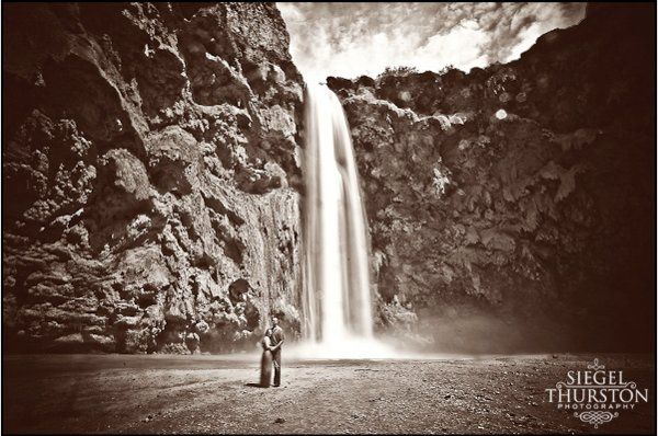 Chad and Jenna in front of one of their favorite water falls in the grand canyon. Moony Falls!
