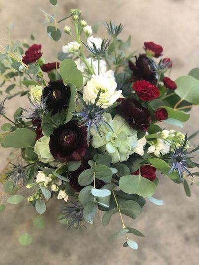 Burgundy and blue Bridal