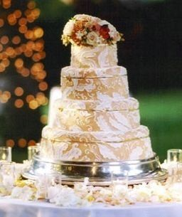 Four layered wedding cake