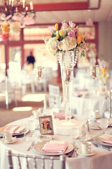 Bright pink table setting