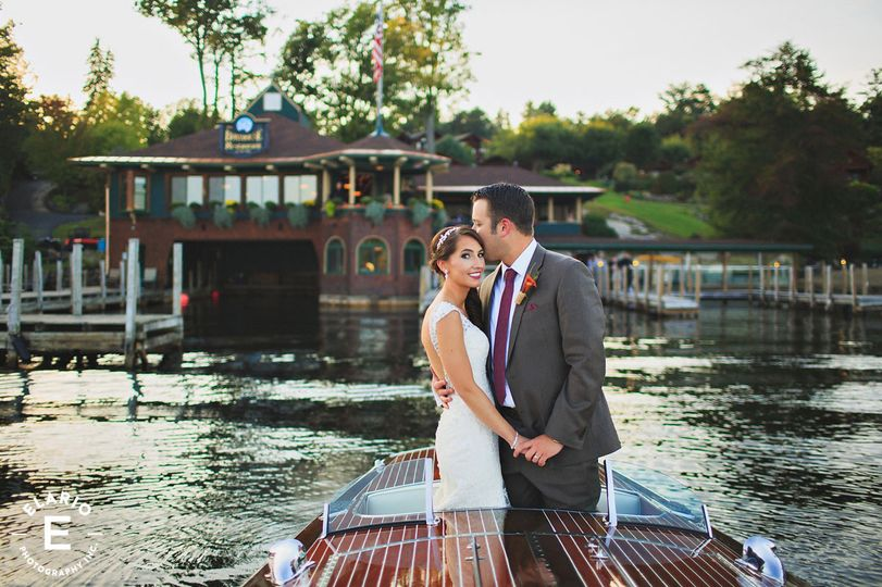 Newlyweds on a speed boat