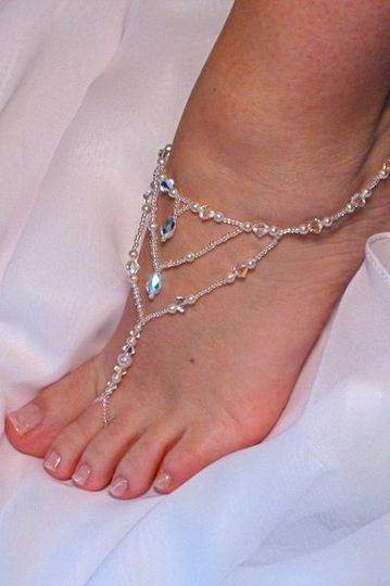 Bridal Barefoot Sandals for your destination beach wedding. Swarovski crystals and pearls are strung...