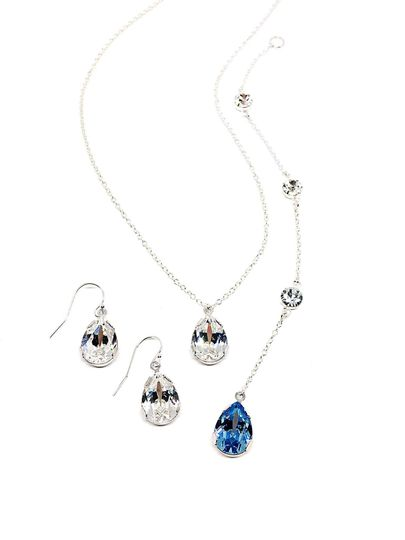 The Something Blue Backdrop Necklace from the Celina Collection. Swarovski crystal and sterling...