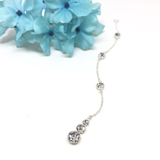 The Backdrop Necklace Attachment to the Demetria Bridal Collection. 3 Stone Swarovski Crystal...