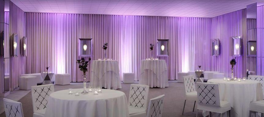 Purple lighting reception setup