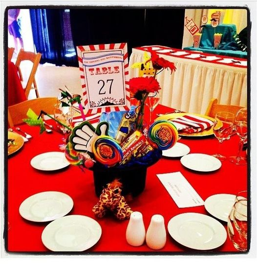 Circus theme Table Numbers. Red and white striped background with flecks of gold.  Coordinating...