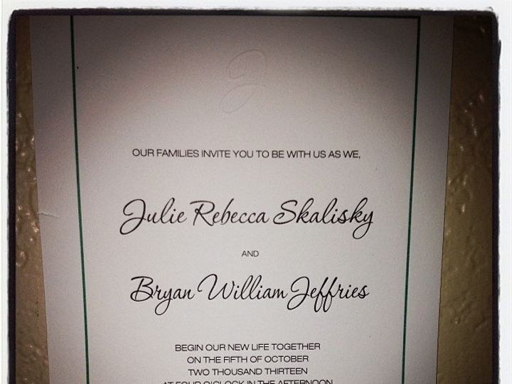 Tmx 1391161067425 Skalisky Jeffries Invitation From Juli Bakersfield wedding invitation