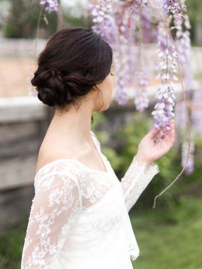 Bride in lace dress
