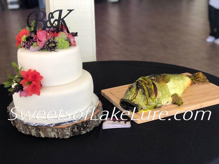 Elegant Fondant Wedding Cake with Fresh Flowers and Dead Bass Groom's Cake