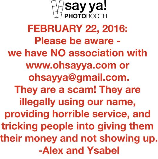 FEBRUARY 22, 2016: Please be aware - we have NO association with www.ohsayya.com or...