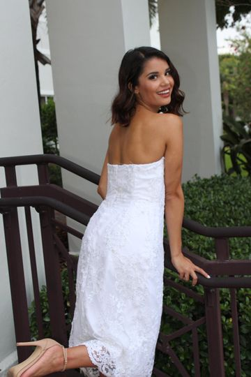 Mid length bridal gown