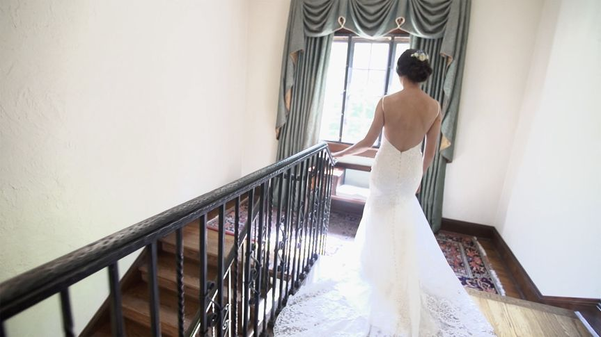 Beautiful bride on a staircase.
