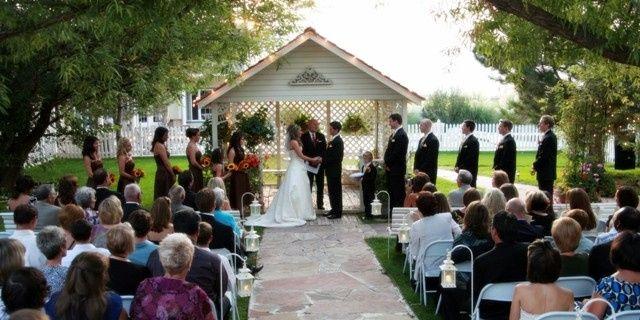 Outdoor garden wedding at sunset!