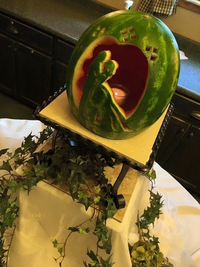 Watermelon carving of Bride and Groom