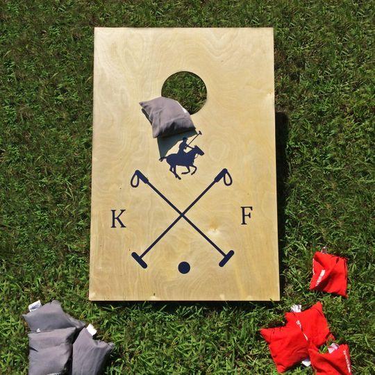 Custom Corn Hole Game for Preppy Polo Club Wedding