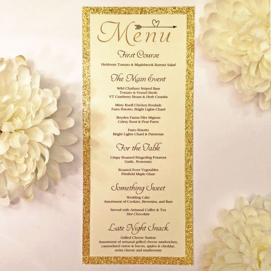Rustic meets elegance with gold inspired Menu Cards