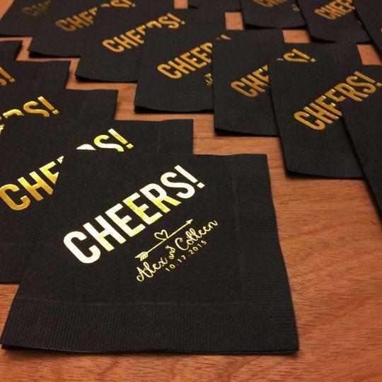 Cocktail napkins with custom logo and saying.